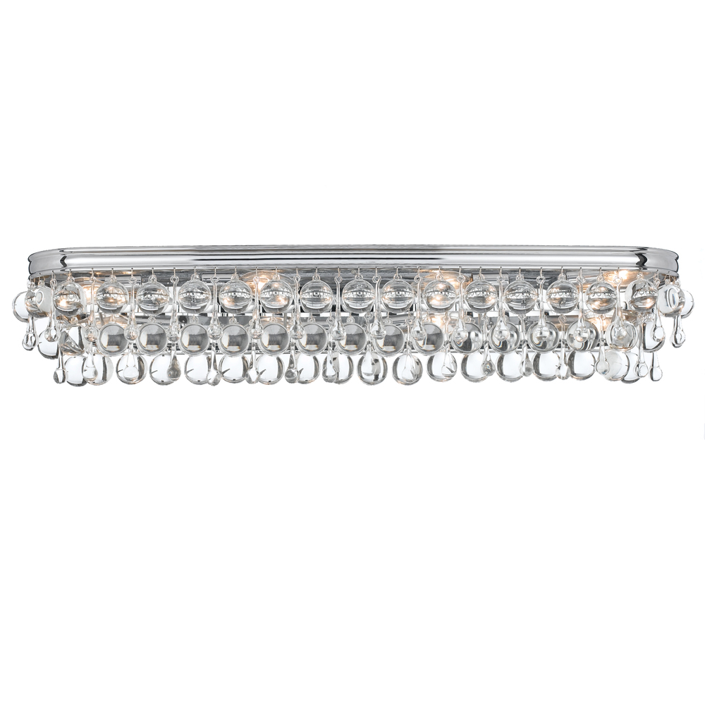 8 Light Polished Chrome Transitional Bathroom Vanity Light Draped In Clear  Glass Drops
