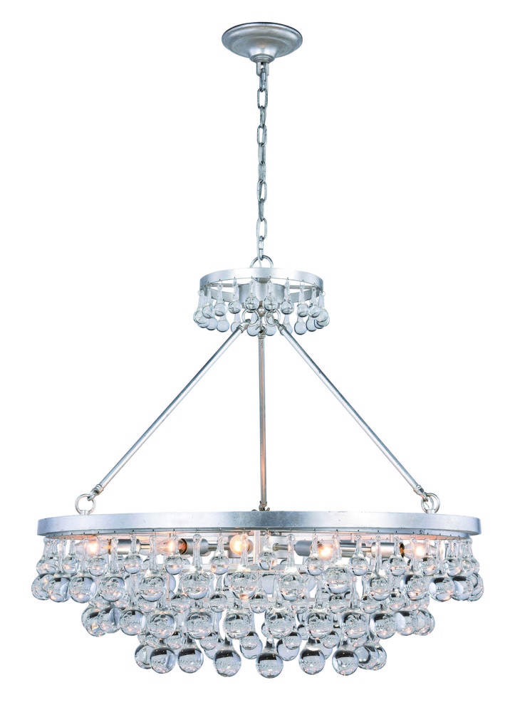 Bettina 10 Light Silver Leaf Pendant Clear Royal Cut Crystal