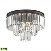ELK Lighting 15225/3-LED - Palacial 3-Light Semi Flush in Oil Rubbed Bronze with Clear Crystal - Includes LED Bulbs