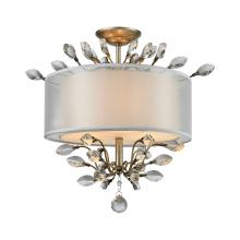 ELK Lighting 16281/3 - Asbury 3-Light Semi Flush in Aged Silver with Organza and Fabric Shade